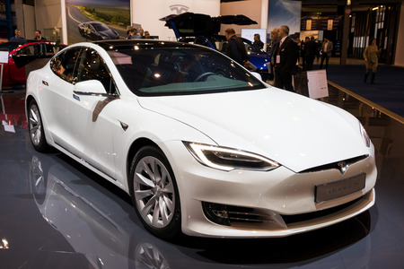 BRUSSELS - JAN 10, 2018: Tesla Model S electric car showcased at the Brussels Motor Show.