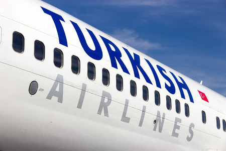 BERLIN, GERMANY - MAY 21: Close up of a Turkish Airlines Boeing 737-800 at the International Aerospace Exhibition ILA on May 21nd, 2014 in Berlin, Germany. Editorial