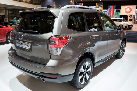 BRUSSELS - JAN 10, 2018: Subaru Forester Compact SUV car showcased at the Brussels Motor Show.