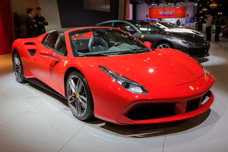 BRUSSELS - JAN 10, 2018: Ferrari 488 Spider sports car showcased at the Brussels Motor Show.