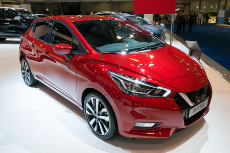 BRUSSELS - JAN 10, 2018: Nissan Micra car showcased at the Brussels Motor Show.