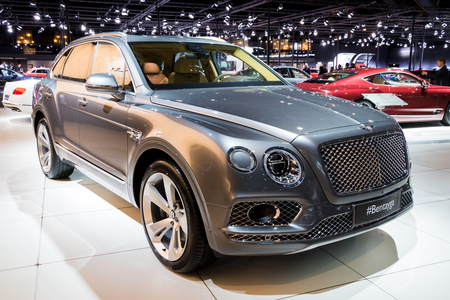 BRUSSELS - JAN 10, 2018: Bentley Bentayga luxury SUV car showcased at the Brussels Motor Show.