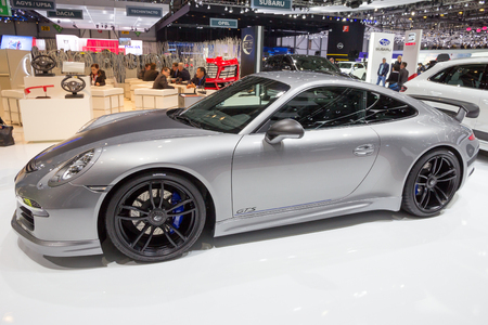 GENEVA, SWITZERLAND - MARCH 3, 2015: TechArt Porsche 911 Carrera GTS sports car at the 85th International Geneva Motor Show in Palexpo. Stok Fotoğraf - 93912204