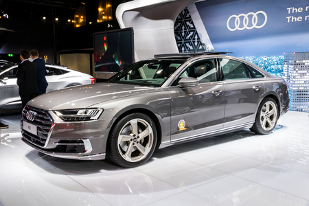 BRUSSELS - JAN 10, 2018: Audi A8 car presented at the Brussels Motor Show.