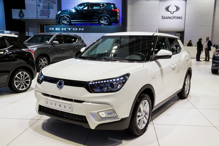 BRUSSELS - JAN 10, 2018: SsangYong Tivoli mini-SUV car showcased at the Brussels Motor Show. Editorial