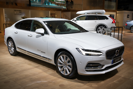 BRUSSELS - JAN 10, 2018: Volvo S90 car presented at the Brussels Motor Show. Editorial