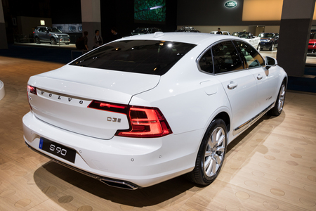 BRUSSELS - JAN 10, 2018: Volvo S90 car presented at the Brussels Motor Show. Editöryel