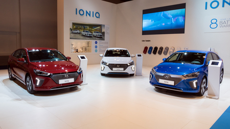 BRUSSELS - JAN 10, 2018: New Hyundai Ioniq electric cars showcased at the Brussels Motor Show.