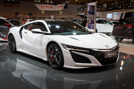 BRUSSELS - JAN 10, 2018: Honda NSX sports car showcased at the Brussels Motor Show.