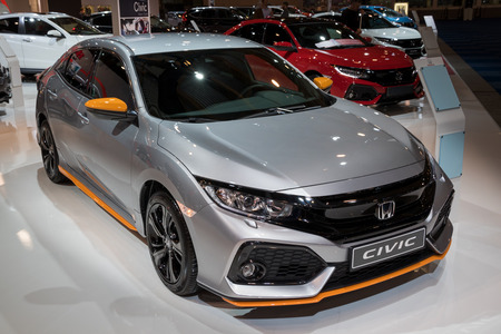 BRUSSELS - JAN 10, 2018: Honda Civic car showcased at the Brussels Motor Show. Editorial