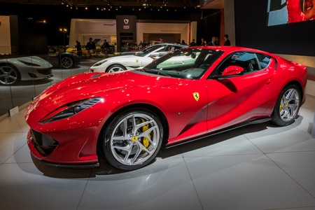 BRUSSELS - JAN 10, 2018: Ferrari 812 Superfast sports car showcased at the Brussels Motor Show.