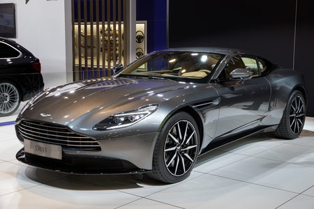 BRUSSELS - JAN 10, 2018: Aston Martin DB11 Grand Tourer Coupe car showcased at the Brussels Motor Show. Editorial