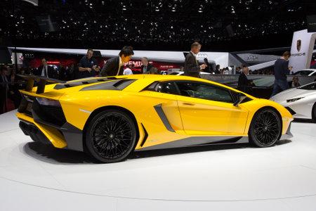 GENEVA, SWITZERLAND - MARCH 3, 2015: Lamborghini Aventador LP 750-4 SuperVeloce revealed at the 85th International Geneva Motor Show in Palexpo. Editorial