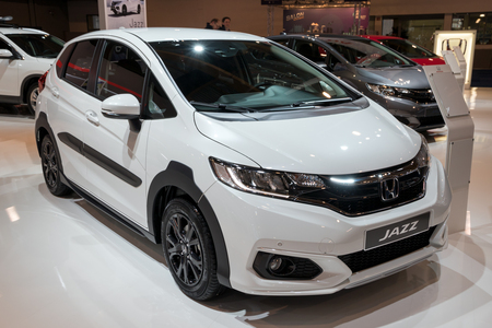 BRUSSELS - JAN 10, 2018: Honda Jazz car showcased at the Brussels Motor Show.