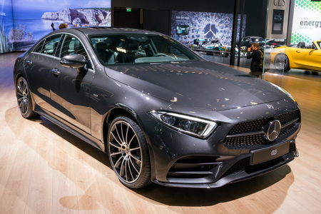 BRUSSELS - JAN 10, 2018: Mercedes Benz CLS Coupe car showcased at the Brussels Motor Show.