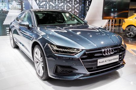 BRUSSEL - 10 JANUARI 2018: Nieuwe 2018 Audi A7 sportback car gepresenteerd op de Autosalon van Brussel.