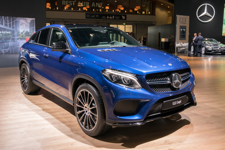 BRUSSELS - JAN 10, 2018: Mercedes Benz GLE Coupe car showcased at the Brussels Motor Show. Editorial