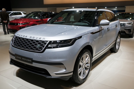 BRUSSELS - JAN 10, 2018: Land Rover Range Rover Velar D180 car showcased at the Brussels Motor Show.