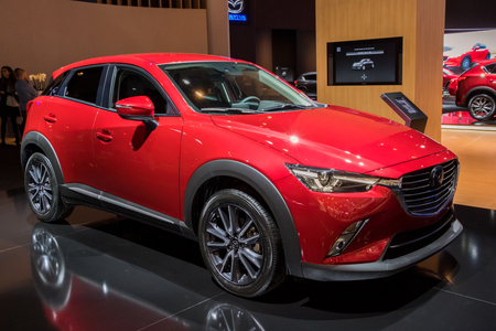 BRUSSELS - JAN 10, 2018: Mazda CX-3 car showcased at the Brussels Motor Show. Editorial