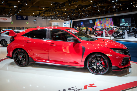 BRUSSELS - JAN 10, 2018: Honda Type-R car showcased at the Brussels Motor Show.