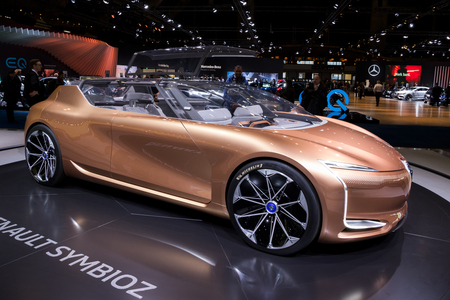 BRUSSELS - JAN 10, 2018: Renault Symbioz autonomous electric concept car showcased at the Brussels Motor Show.