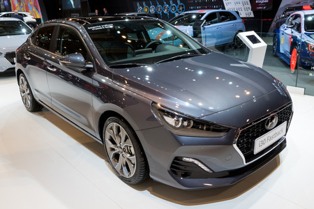 BRUSSELS - JAN 10, 2018: Hyundai i30 Fastback car showcased at the Brussels Motor Show.