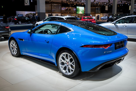 BRUSSELS - JAN 10, 2018: 2018 Jaguar F-TYPE luxury sports car shown at the Brussels Motor Show. Editorial