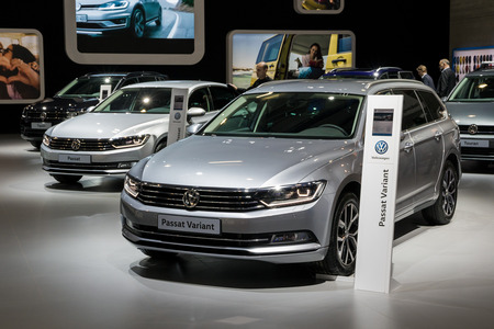 BRUSSELS - JAN 10, 2018: Volkswagen Passat large family car showcased at the Brussels Motor Show. Editorial