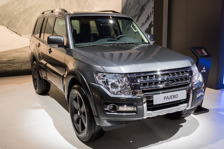 BRUSSELS - JAN 10, 2018: New Mitsubishi Pajero midzsize SUV car shown at the Brussels Motor Show. Editöryel