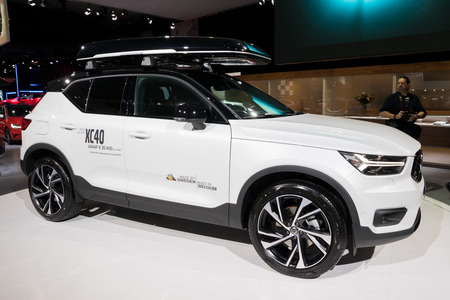 BRUSSELS - JAN 10, 2018: Volvo XC40 compact SUV car shown at the Brussels Motor Show. Editorial