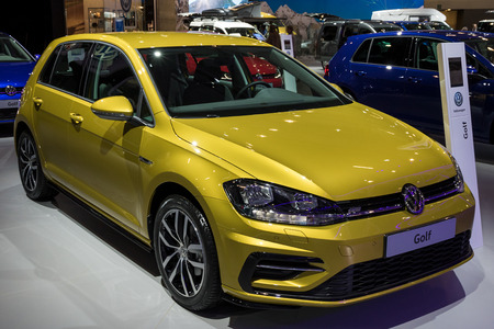 BRUSSELS - JAN 10, 2018: New Volkswagen Golf shown at the Brussels Motor Show. Editöryel