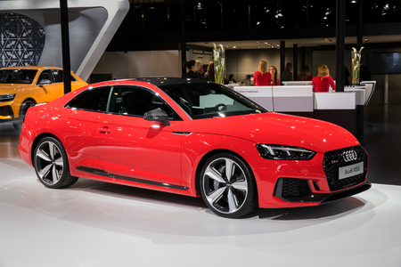 BRUSSELS - JAN 10, 2018: Audi RS5 car showcased at the Brussels Motor Show. Editorial