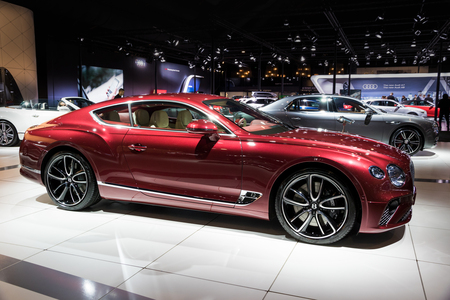 BRUSSELS - JAN 10, 2018: New 2018 Bentley Continental GT luxury car showcased at the Brussels Motor Show.