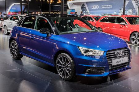 BRUSSEL - 10 JANUARI 2018: Audi A1 economy-auto tentoongesteld op de Autosalon van Brussel.
