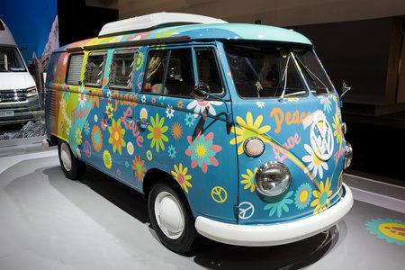 BRUSSELS - JAN 10, 2018: Flower Power Volkswagen Transport camper van shown at the Brussels Motor Show.