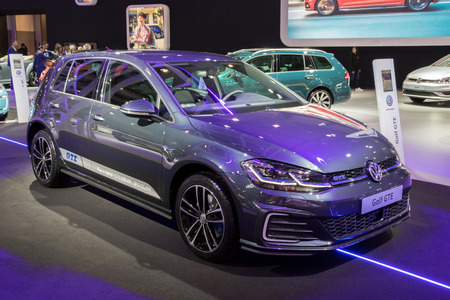 BRUSSELS - JAN 10, 2018: Volkswagen Golf GTE Plug-In Hybrid car showcased at the Brussels Motor Show.
