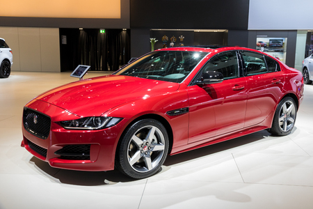 BRUSSELS - JAN 10, 2018: Jaguar XE compact executive car shown at the Brussels Motor Show. Editorial