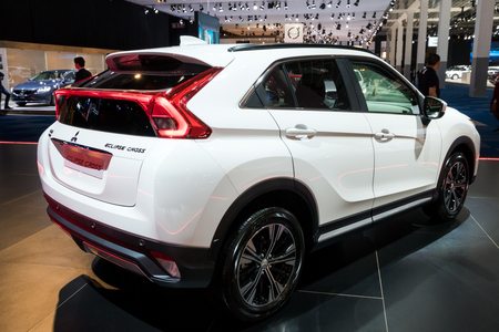 BRUSSELS - JAN 10, 2018: New Mitsubishi Eclipse Cross sport compact car shown at the Brussels Motor Show.