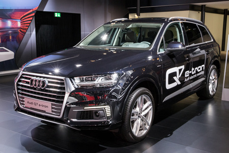 BRUSSELS - JAN 10, 2018: Audi Q7 e-tron V6 Plug-in hybrid car showcased at the Brussels Motor Show.