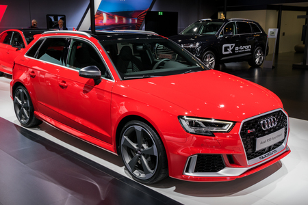 BRUSSELS - JAN 10, 2018: New 2018 Audi RS3 Sportback car showcased at the Brussels Motor Show.