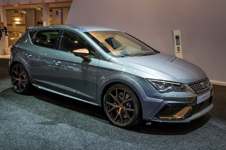 BRUSSELS - JAN 10, 2018: New Seat Leon car shown at the Brussels Motor Show.