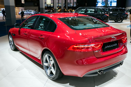 BRUSSELS - JAN 10, 2018: Jaguar XE compact executive car shown at the Brussels Motor Show. Editöryel