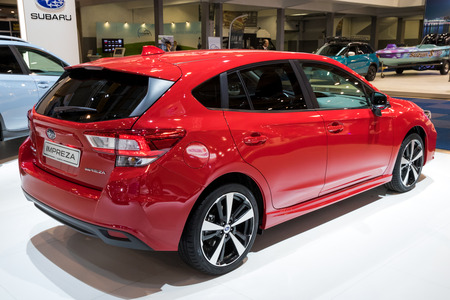 BRUSSELS - JAN 10, 2018: Subaru Impreza car shown at the Brussels Motor Show.