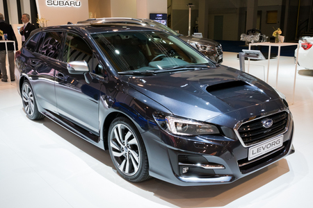 BRUSSELS - JAN 10, 2018: Subaru Levorg mid-sized car shown at the Brussels Motor Show. Editorial