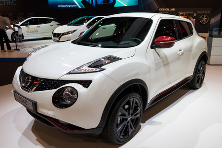 BRUSSELS - JAN 10, 2018: Nissan Juke subcompact crossover SUV car shown at the Brussels Motor Show.