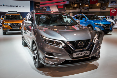 BRUSSELS - JAN 10, 2018: Nissan Qashqai compact crossover SUV car shown at the Brussels Motor Show.