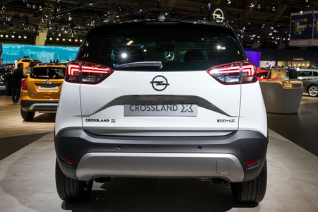 BRUSSELS - JAN 10, 2018: Opel Crossland X compact crossover SUV car shown at the Brussels Motor Show. Editöryel