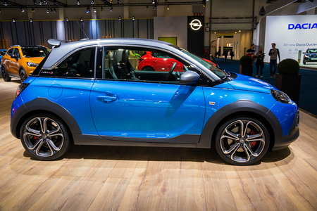 BRUSSELS - JAN 10, 2018: Opel ADAM economic car shown at the Brussels Motor Show.