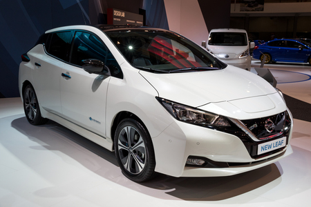 BRUSSELS - JAN 10, 2018: New Nissan LEAF electric car shown at the Brussels Motor Show. Editorial