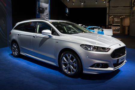 BRUSSELS - JAN 10, 2018: New Ford Mondeo family car shown at the Brussels Motor Show.